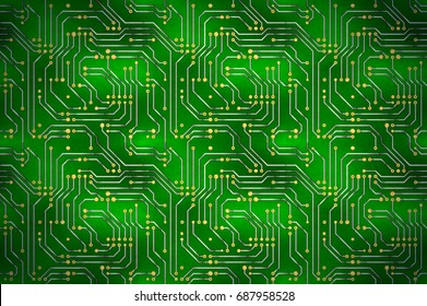 technology background golden microchip pattern on stock vector