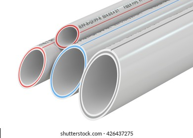 Composite Pipes, 3D rendering isolated on white background