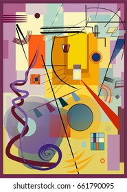 composition of abstract colorful shapes ,stylized cat snout, ,on light yellow background. expressionism art style. Inspired by the kandinsky painter