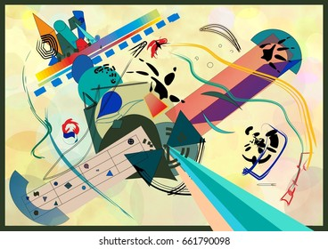composition of abstract colorful shapes ,stylized plane, ,on light beige background. expressionism art style. Inspired by the kandinsky painter