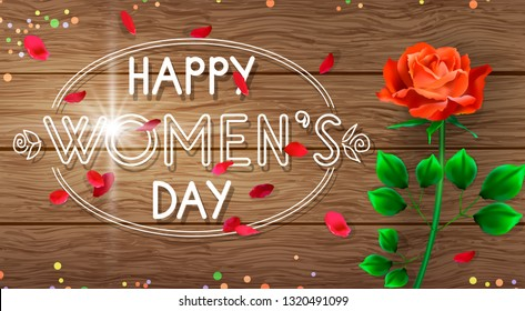 Composition with a big red rose and little leaves with an inscription on a wooden background. Beautiful greeting card or banner for Women's Day.
