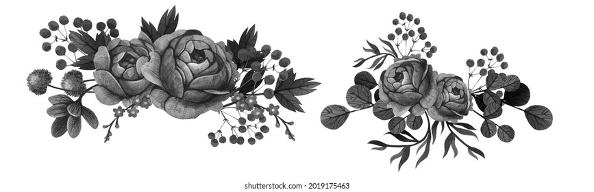 Composition of black flowers and a skull. Drawn by hand. Watercolor technique. Paper texture. Gothic. Halloween. Blank. Isolated elements
