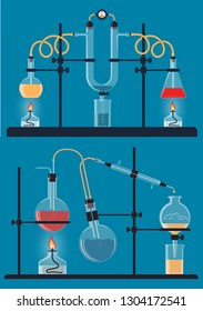Composition of chemical flasks, devices for conducting chemistry reactions and experiments in the laboratory