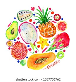 Composition in circle with exotic fruits. Citrus, avocado, pitahaya, carambola, annona, pineapple, pomegranate, papaya. Hand drawn watercolor illustration isolated on white background