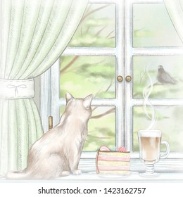 Composition with coffee, piece of cake and cat sitting on the sill of the window with green curtains and  summer landscape. Watercolor and lead pencil graphic hand drawn illustration