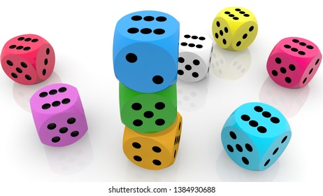 Composition of colorful dices on white.3d illustration