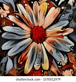 Composition of daisies. Flowers in the form of abstraction. Oil painting on canvas with elements of acrylic painting. Rough strokes and chaotic arrangement of elements.