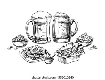 The composition of drinks and snacks. Set food and beer in a glass, mug, cup and jar. Hand drawing graphic strokes, lines Sketch for Oktoberfest or menu the restaurant, pub, bistro, snack bar