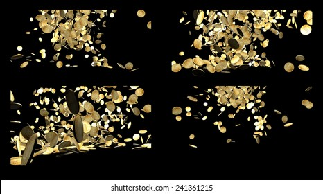 Composition of Falling Gold Coins Isolated on black background