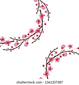 Фотообои Composition with flowering branches on a white background. Drawing with colored pencils.