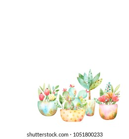 Composition of four watercolor cartoon garden pots with various plants such as cactus, red flowers, branches and leaves on a white background