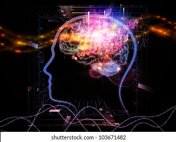 Composition of head outlines, lights and abstract design elements on the subject of intelligence,  consciousness, logical thinking, mental processes and brain power