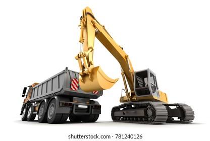 Composition of hydraulic Excavator and dump truck with buckets at foreground isolated on white. 3d illustration.