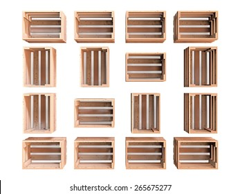 A composition of  isolated empty wooden fruit crates
