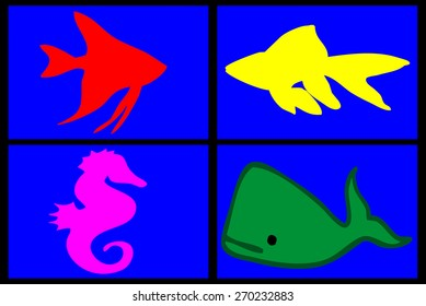 composition of marine animals on a blue background