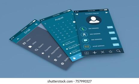 composition of mobile apps mockup (3d render)