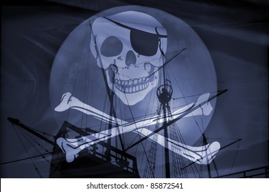 Composition with an old caravel and a pirate flag.Concept of danger.