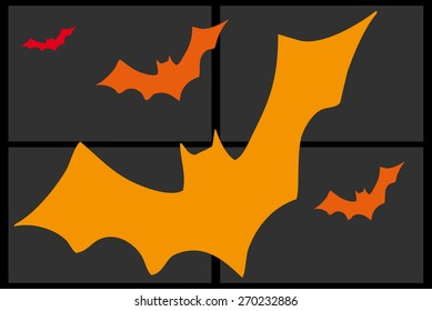 Composition of orange bats on a gray background