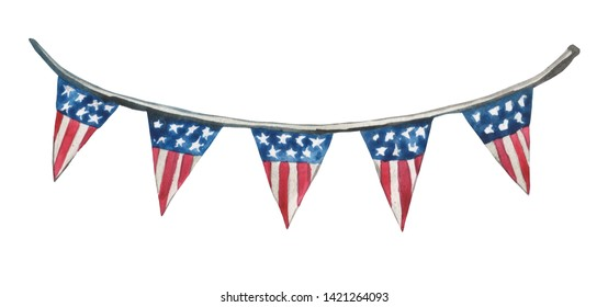 A composition painted in watercolor, a banner with stylized flags, USA. Element on white background for graphic design on festive patriotic themes.