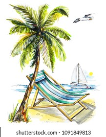 Composition with palm tree, yacht, chaise longue and seagull on the beach. Watercolor hand drawn illustration