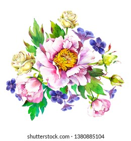 Composition with Pansies, Peonies, Roses. Watercolor bouquet. Botanical illustrations with flowers and plants on white background.