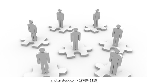 Composition of people's silhouettes on white jigsaw puzzles over white background. global technology, connections and networking concept digitally generated image.