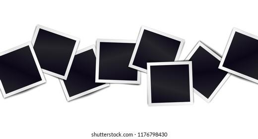 Composition of realistic black photo frames on light background. Mockups for design.