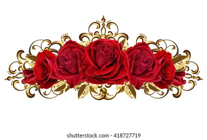 composition of red roses in a gold frame, isolated. Gold weave.