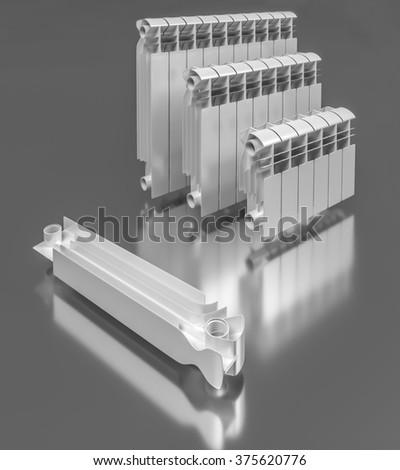 Composition Sectional Aluminum Radiators Stock Illustration
