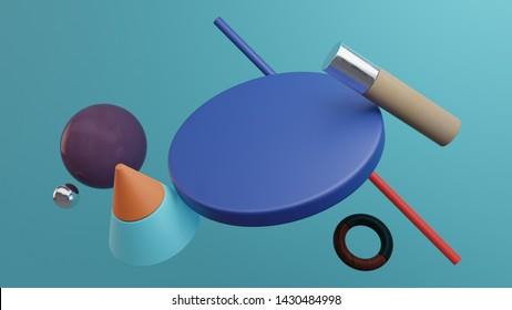 Composition of solid primitive geometric shapes. Flying shapes on blue background. 3d Illustration