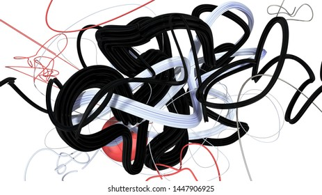 Composition with stylish trendy doodles made as 3D objects in space, different shapes and materials, high resolution render