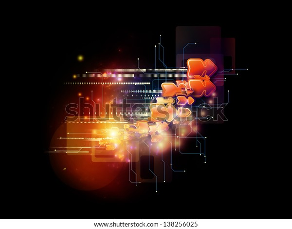 Composition of symbols, lights, fractal elements on the subject of digital communications, science and virtual cloud technology
