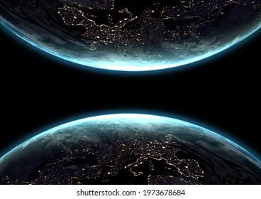 Composition of two globes with glowing continents seen from space. outer space and galaxy concept digitally generated image.