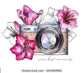 Composition with vintage brown camera and pink flowers isolated on white background. Watercolor hand drawn illustration