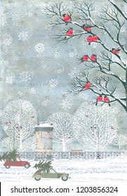 Composition from watercolor background with snowflakes and vector flock of bullfinches perching on the branches of a trees, advertising column, cars with christmas trees on top, snow, trees, fence...