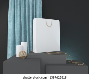 Composition with white paper bag, candles and decor. 3D rendering.