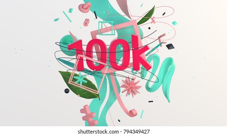 Composition with word 100k, for people who wants to celebrate followers etc, high resolution 3D render