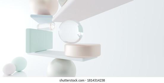 Komposition.Gold, Metall, Glas, bunte matte Objekte.Abstrakter architektonischer minimalistischer Hintergrund. Zeitgenössischer Showroom. Moderner weißer Messestand. Gallery.Card. 3D-Illustration und Rendering.
