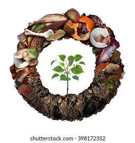 Compost life cycle symbol and a composting stage system concept as a pile of rotting  fruits egg shells bones and vegetable food scraps shaped as circle with soil at the bottom and a sapling growing.