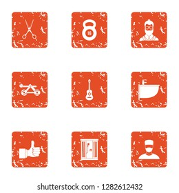 Comprehension icons set. Grunge set of 9 comprehension icons for web isolated on white background