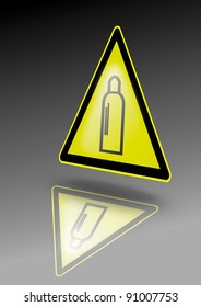 Compressed gases warning sign. Gas bottle symbol on yellow triangle. Illustration for dangerous environment or special risks