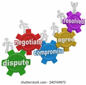 Compromise reached by people marching up gears to resolve differences in discussion, negotiation and dispute settlement