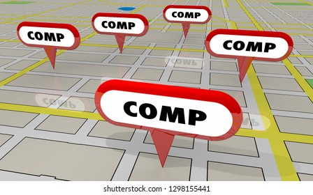 Comps Sold Houses Comparable Properties Map Pins 3d Illustration