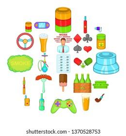 Compulsive gambling icons set. Cartoon set of 25 compulsive gambling icons for web isolated on white background