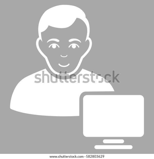 Computer Administrator glyph icon. Flat white symbol. Pictogram is isolated on a silver background. Designed for web and software interfaces.