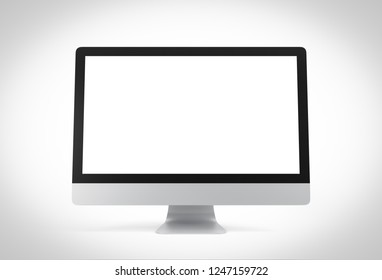 Computer with blank screen isolated on white background, 3d rendering