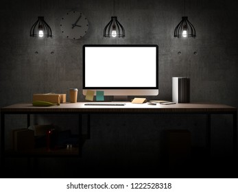 Computer with blank screen on table in industrial loft room - 3D illustration