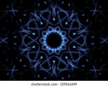 Computer blue floral fractal illustration on black background