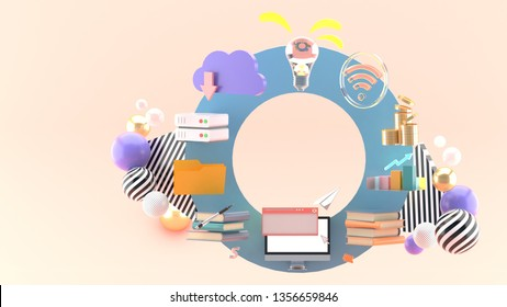 Computer, books, cloud system, folder, money, and wifi on a circle on a pink background.-3d rendering.