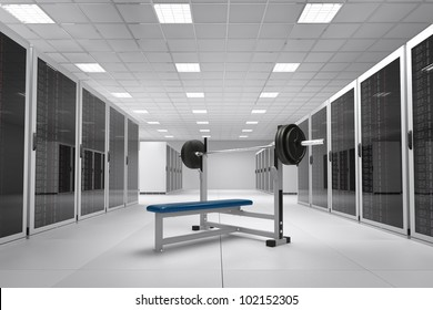 Computer Center with bunch of server racks and power weights